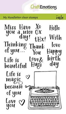 CraftEmotions clearstamps A6 - handletter - typewriter quotes (Eng) Carla Kamphuis