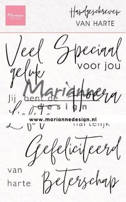 Marianne D Clear Stamps Handgeschreven - van Harte (NL) CS1049 110x150mm