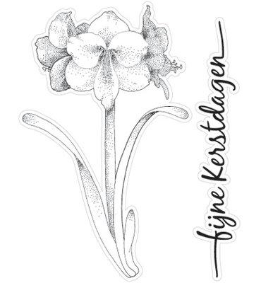 CS0829 Marianne Design - Clear Stamp - Amaryllis - Fijne kerstdagen