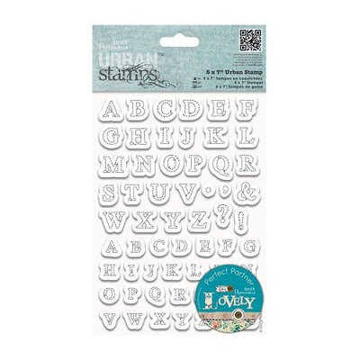 PMA 907191 - Docrafts - Papermania - 5 x 7inch Urban Stamp - Stitched Alphabets