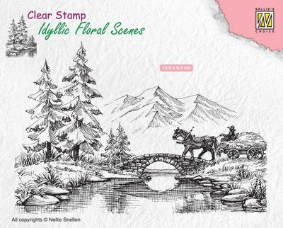 Nellies Choice clearstamp - Idyllic Floral Scenes paard en wagen IFS022 138x95mm (02-20)