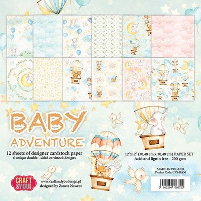 Craft&You Baby Adventure BIG Paper Set 12x12 12 vel CPS-BA30 (02-20)