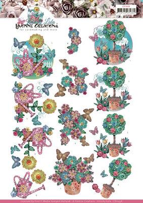 CD11438 3D cutting sheet - Yvonne Creations - Kitschy Lala - Kitschy Flower Pots
