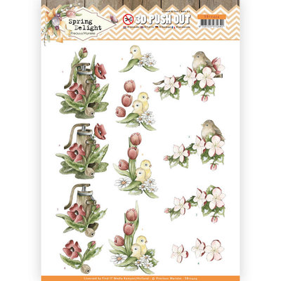 SB10424 3D Pushout - Precious Marieke - Spring Delight - Red Flowers