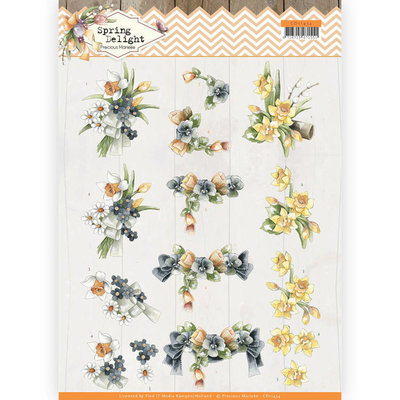 CD11434 3D cutting sheet - Precious Marieke - Spring Delight - Violets and Daffodils