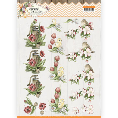 CD11433 3D cutting sheet - Precious Marieke - Spring Delight - Red Flowers