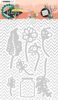 Studio Light Embossing Die Sweet Flowers nr.246 STENCILSFL246 92x142mm (03-20)