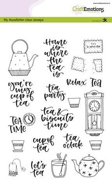 CraftEmotions clearstamps A5 - handletter - Tea Time (Eng) Carla Kamphuis (03-20)