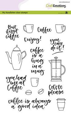 CraftEmotions clearstamps A5 - handletter - Coffee please (Eng) Carla Kamphuis (03-20)