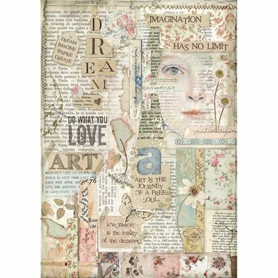 Stamperia Rice Paper A4 Love Art (DFSA4438)