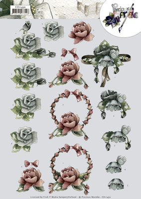 CD11450 3D cutting sheet Precious Marieke  All kinds of roses