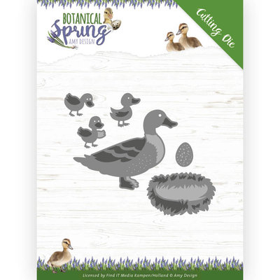 ADD10201 Dies - Amy Design - Botanical Spring - Some Ducks Formaat ca. 8,2 x 8 cm