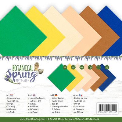 AD-A5-10022 Linen Cardstock Pack - A5 - Amy Design - Botanical Spring
