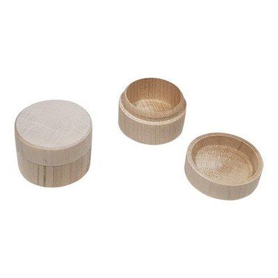 Houten Kistje voor ringen / oorbellen beukenhout Rond 4cmx2,8cm