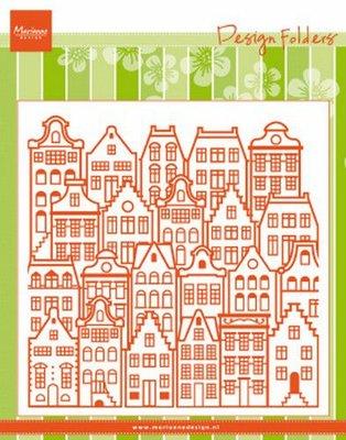 Marianne D Embossing folder Extra Grachtenpanden DF3458 152x154mm