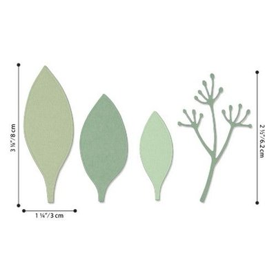 Sizzix Thinlits Die Set - 4PK Elegant Leaves 664444 Jen Long