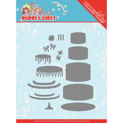 YCD10202 Dies - Yvonne Creations - Bubbly Girls Party - Birthday Cake Formaat ca. 11 x 10,5 cm