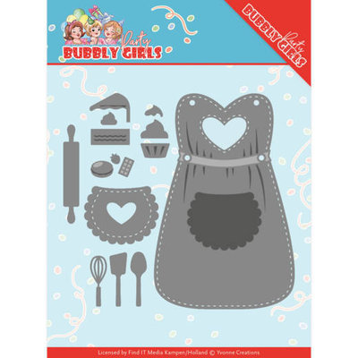 YCD10201 Dies - Yvonne Creations - Bubbly Girls Party  Apron Formaat ca. 12,9 x 11,6 cm