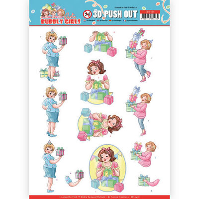 SB10438 3D Pushout - Yvonne Creations - Bubbly Girls - Party - Decorating