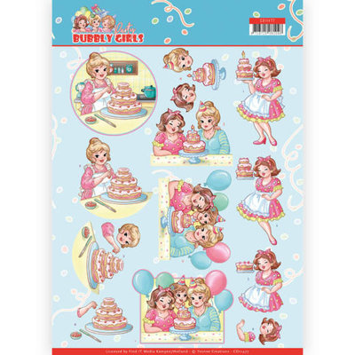 CD11477 3D cutting sheet - Yvonne Creations - Bubbly Girls - Party - Baking