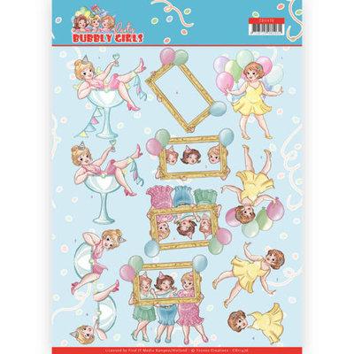 CD11476 3D cutting sheet - Yvonne Creations - Bubbly Girls - Party - Let's have fun