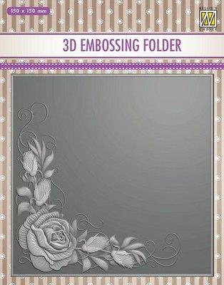 Nellie's Choice 3D Emb. folder rozen hoek EF3D012 150x150mm