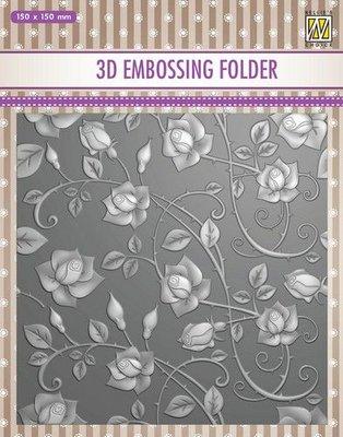 Nellie's Choice 3D Emb. folder rozen EF3D011 150x150mm