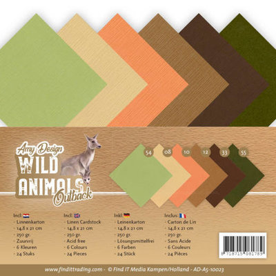 AD-A5-10023 Linen Cardstock Pack - A5 - Amy Design - Wild Animals Outback
