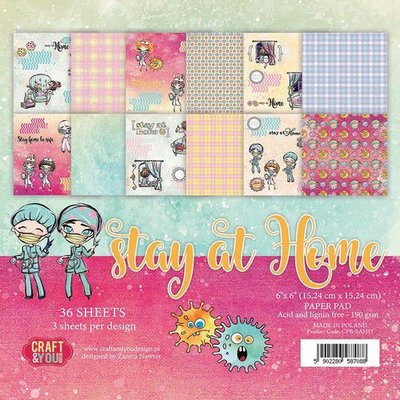 Craft&You Stay at home Small Paper Pad 6x6 36 vel CPB-SAH15