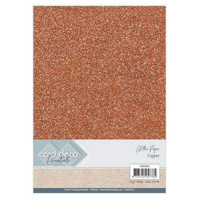 CDEGP011 Card Deco Essentials Glitter Paper Copper A4 230 grs 6 vel