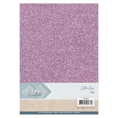 CDEGP008 Card Deco Essentials Glitter Paper Pink A4 230 grs 6 vel
