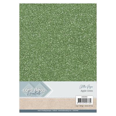 CDEGP006 Card Deco Essentials Glitter Paper Apple Green A4 230 grs 6 vel