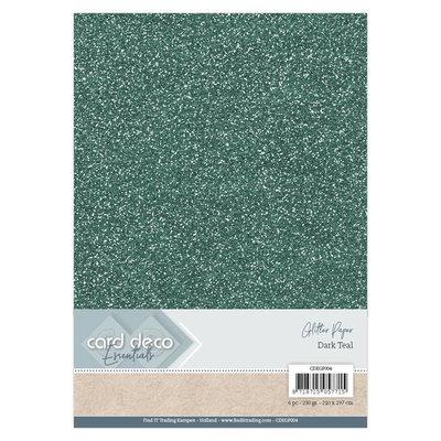 CDEGP004 Card Deco Essentials Glitter Paper Dark Teal A4 230 grs 6 vel