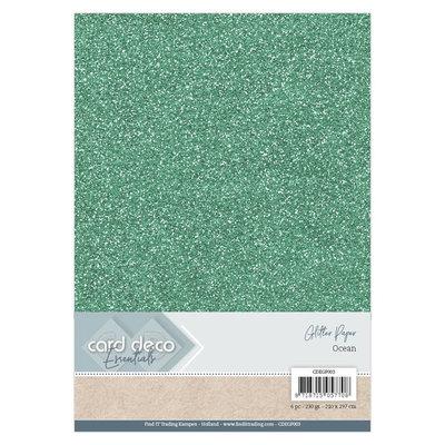 CDEGP003 Card Deco Essentials Glitter Paper Ocean A4 230 grs 6 vel
