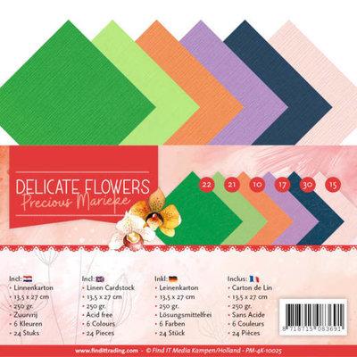 PM-4K-10025 Linen Cardstockset Pack 4K Precious Marieke Delicate Flowers