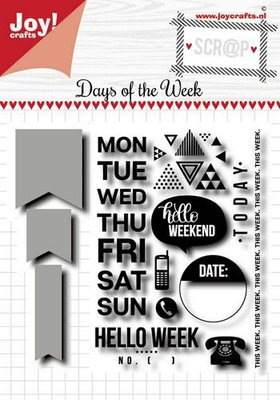 Joy! Crafts Scrap Stansmal & Stempels - Noor - Days of the week (Eng) 6004/0036 94x67
