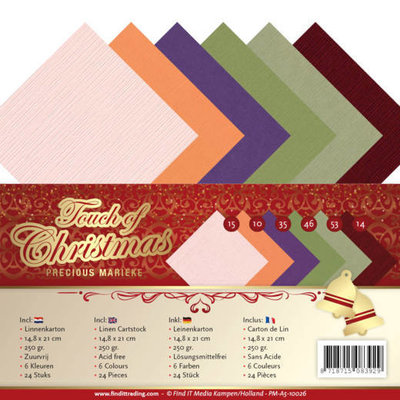 PM-A5-10026 Linen Cardstock Pack - A5 - Precious Marieke - Touch of Christmas