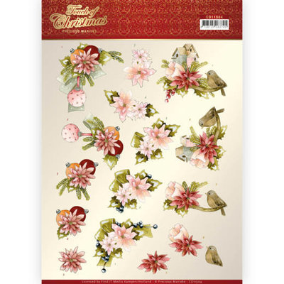 CD11504 3D cutting sheet - Precious Marieke - Touch of Christmas - Pink Flowers