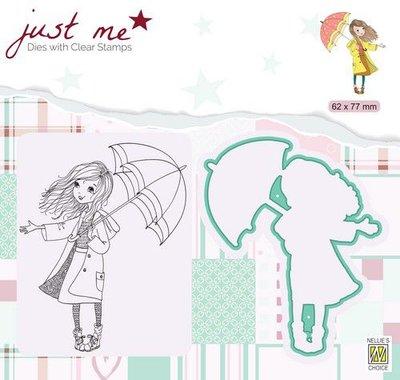 Nellie's Choice Just Me Die + Clear stamp Herfstweer JMSD009 62x77mm