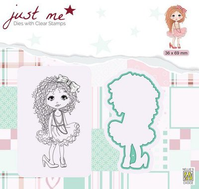 Nellie's Choice Just Me Die + Clear stamp Dame meisje JMSD008 36x69mm