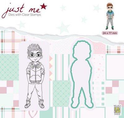 Nellie's Choice Just Me Die + Clear stamp Tiener Jongen JMSD006 24x77mm