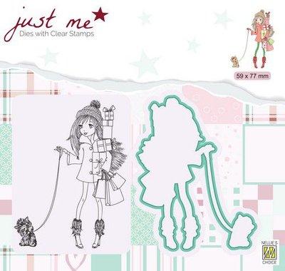 Nellie's Choice Just Me Die + Clear stamp Kerstshoppen JMSD005 59x75mm
