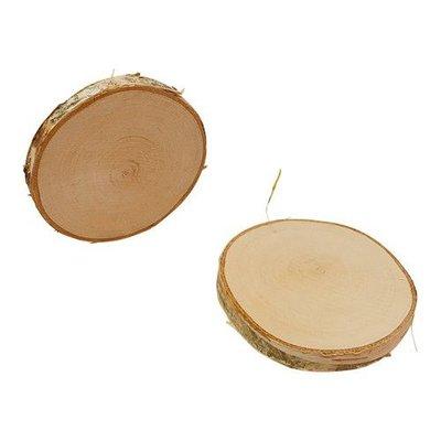 Boomschorsschijf rond berkenhout  Diameter +- 5-6 CM H: +- 0,7 cm