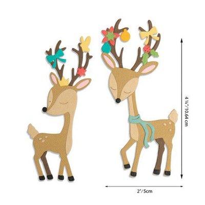 Sizzix Thinlits Die Set - Christmas Deer 10PK 664448 Jen Long
