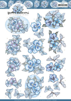 CD11417 3D cutting sheet - Yvonne Creations - Blue Butterflies