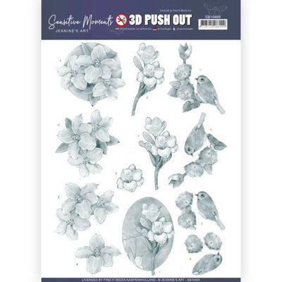 SB10469 3D Push Out - Jeanine's Art - Sensitive Moments - Grey Freesias