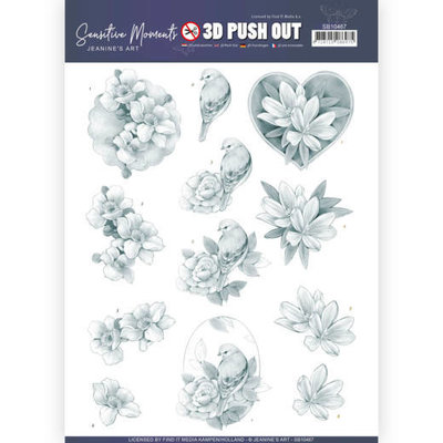 SB10467 3D Push Out - Jeanine's Art - Sensitive Moments - Grey Rose