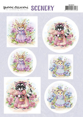 CDS10019 Push Out Scenery - Yvonne Creations - Aquarella - Lovely Animals