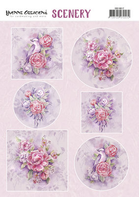 CDS10017 Push Out Scenery - Yvonne Creations -Pink Flowers