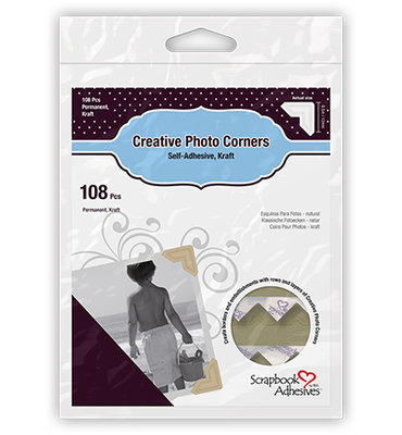 3L Scrapbook Adhesives - Photo Corners - Kraft - Permanent Adhesive 12mm
